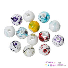 Wholesale Painted Beads Round - Acrylic Spacer Beads Round Mixed Spray Painted About 8mm Dia,Hole:Approx 2.5mm,500PCs (B36694)