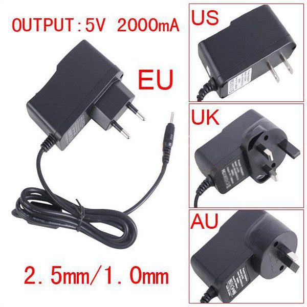Freeshipping 5V 2A DC 2.5mm Plug Converter Wall Charger Power Supply Adapter for A13 A23 ALL Tablet EU US UK plug Retail