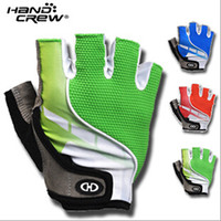 Wholesale Handcrew Bike Gloves - HANDCREW Cycling Gloves Bike Bicycle Half Finger Gloves red blue green M-XL