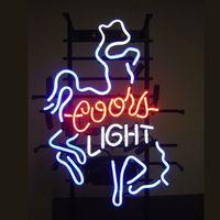 luz de néon de cavalo venda por atacado-COORS LUZ CAVALO Sinal de Néon Tubo De Vidro Real Bar Clube Loja de Publicidade de Negócios de Decoração Para Casa Arte Exibição de Presente de Metal Frame Tamanho 17''X14 ''