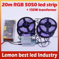 Wholesale Led Strips For Autos - 20M 5050 LED Strip Waterproof RGB Warm White Cool White + 24Key Remote + 150W Transformer for Bedroom auto Decoration Lights