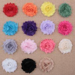 Wholesale Hair Color Edges - Wholesale Free Shipping 2.5inch Shabby Edges Gauze Flower DIY accessories Flowers Girl Headbands Flower Hair Accessories 50pcs
