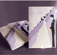 Wholesale Wedding Card Themes - 50pcs lot New Fashion Hollow Personalized Design Purple Theme Wedding Invitation Cards Include Envelope Free Shipping