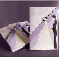 Wholesale Purple Wedding Invitation Envelopes - 50pcs lot New Fashion Hollow Personalized Design Purple Theme Wedding Invitation Cards Include Envelope Free Shipping