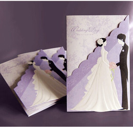 Wholesale Fashion Birthday Invitations - 50pcs lot New Fashion Hollow Personalized Design Purple Theme Wedding Invitation Cards Include Envelope Free Shipping