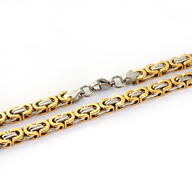 Högkvalitativt rostfritt stål tvåfärgat platt kedja halsband tysk kejsare