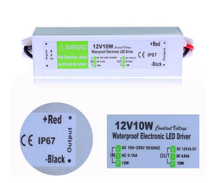Alimentation 12V 10W AC à DC Transformer Interrupteur pour 3528 5050 LED Strip CCTTV étanche IP67 Livraison gratuite