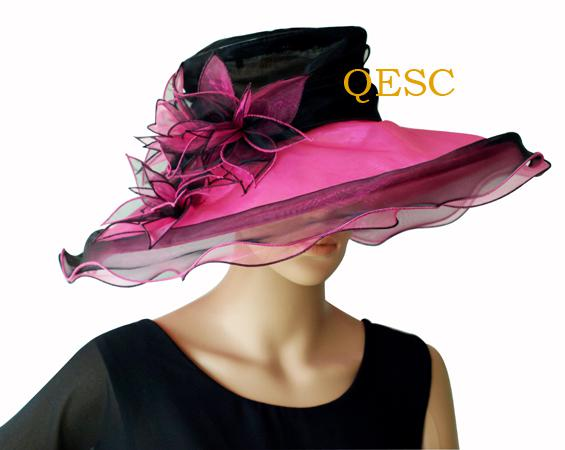 Black/wine NEW wedding ORGANZA HAT/BRIDAL HAT WITH LEAVES FLOWERS .IDEAL FOR KENTYCKY DERBY,church
