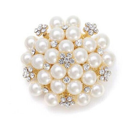 Wholesale Rhinestone Pearl Clusters - 1.8 Inch Silver Gold Tone Rhinestone Crystal and Ivory Pearl Cluster Bridal Bouquet Brooch Pins