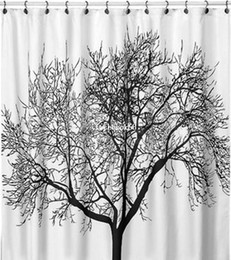 Wholesale New Curtains Designs - New Big Black Scenery Tree Design Bathroom Waterproof Fabric Shower Curtain