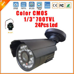 "Wholesale 24 Led Cctv - Newest 1 3"" 700TVL CMOS Color CCTV Waterproof Outdoor Bullet Security Camera Infrared CCTV With IR-Cut"