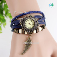 Wholesale vintage sale tags - 2016 Special Offer Sale 5 Colour Leather Bracelet Watch Watches Vintage Wrist Girl Cute Wing Pendant For Gift Free Shipping