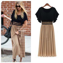 Wholesale maxi sales - New Fashion 2017 Bohemian Women's High Waist Ruffle Sleeve Sexy Vintage Long Chiffon Maxi Dress On sale Plus Size Wholesale 982