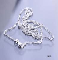 Wholesale Solid Sterling Silver Rope Chains - Charms Solid Plated 925 Sterling Silver Necklace Italy Links Rope Chains Lobster Clasps Fashion Jewelry For Women Girls SH5-28 5pcs
