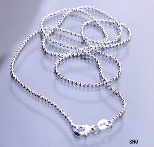 Charms Plated 925 Sterling Silver Necklace Italy Links Mini Beads Chains Lobster Clasps Fashion Jewelry For Women Girls SH6-18