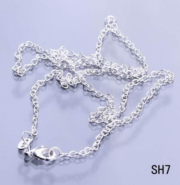 Charms Solid 925 Sterling Silver Necklace Ropes Chains Lobster Clasps Fashion Jewelry For Women Mens SH7-28
