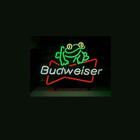 Novo Budweiser Beer Frog Handicrafted Real Glass Tube Neon Light Beer Lager Bar Pub Sign Multiple Size 17 * 14