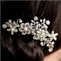 Wholesale Silk Crystals Wedding Dresses - 1 pc Clear Crystal Pearl Flower Wedding Hair Comb Silver Bride Jewelry Dress Accessories Engagement Combs Free Shipping [JH02052*1]