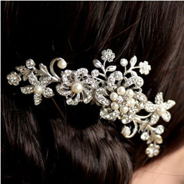Wholesale Rhinestone Alloy Comb Hair Accessories - 1 pc Clear Crystal Pearl Flower Wedding Hair Comb Silver Bride Jewelry Dress Accessories Engagement Combs Free Shipping [JH02052*1]