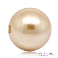 cuentas de acrílico rosa al por mayor-Perlas de acrílico Perlas espaciador de imitación Bola Redonda de oro rosa de 12 mm de diámetro, agujero: Aprox. 1.8 mm, 100 piezas (B26882)