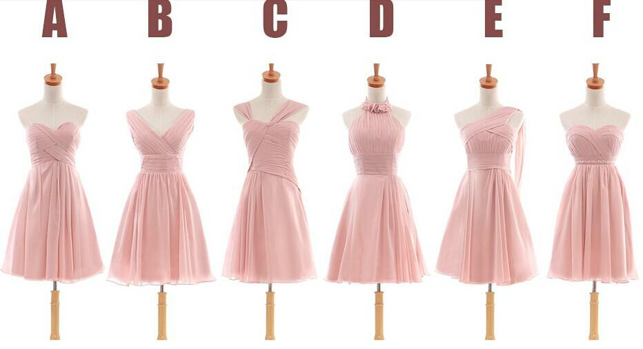 Dog Cheap Dusty Pink Chiffon A Line Bridesmaid Dresses With Knee ...