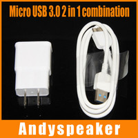 Wholesale Charger Combo - 2 in 1 Combo 3FT USB 3.0 Cable and US Plug Charger Travel Adapter for Samsung Galaxy Note 3 S4 White 50pcs