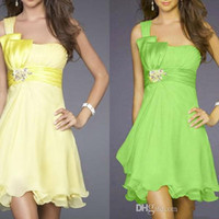 Wholesale Strapless Short Green Beach Dresses - 2014 Summer Beach A line Short One Shoulder Lime Green Bridesmaid Dress Wedding Party Dress Birthday Knee Length Dress In Stock homecoming