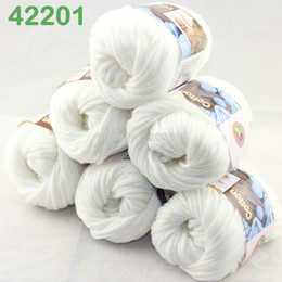 LOT di 6 BallsX50g Special Worsted 100% Cotton Knitting Yarn White 2201