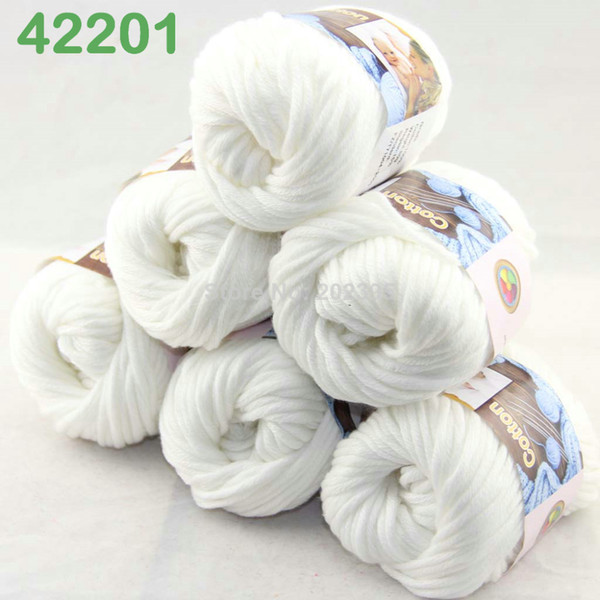 best selling LOT of 6 BallsX50g Special Thick Worsted 100% Cotton Knitting Yarn White 2201