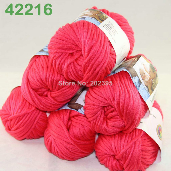 top popular LOT of 6 BallsX50g Special Thick Worsted 100% Cotton Knitting Yarn Deep Coral 2216 2021