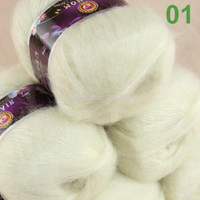 Wholesale Wholesale Mohair - Sale 3 balls MOHAIR 50% Angora goats Cashmere 50% silk hand Yarn Knitting White #01