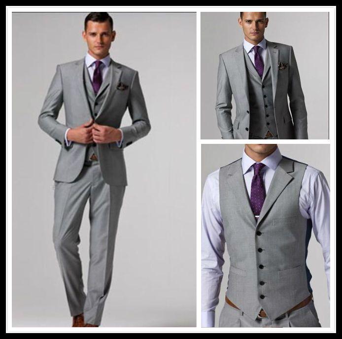 Custom Made Slim Fit Groom Tuxedos Light Grey Silver Side Slit Best ...