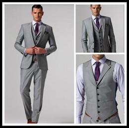 Wholesale Slim Groom - Custom Made Slim Fit Groom Tuxedos Light Grey Silver Side Slit Best Man Suit Wedding Groomsman Men Suits Bridegroom (Jacket+Pants+Tie+Vest)
