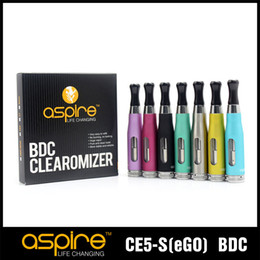 Wholesale Ego Genuine - 100% Genuine Aspire CE5 S BVC Vertical Coil Atomizer Ego Clearomizer Tank 1.8Ml, Bottom Vertical Coil Ecigarette Atomizer Hot Selling