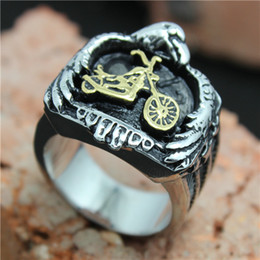 Wholesale Motorcycle Rings Wholesaler - Size 8 to size 15 Personal Design Golden Motorcycles Eagle Ring 316L Stainless Steel Best Gift Cool Top Selling Biker Ring