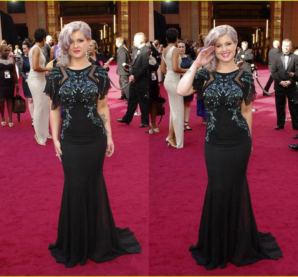 Modest 2015 Black Kelly Osbourne Beads Sheath Evening Dresses For Celebrity Party Prom Red Carpet Crew Neckline Shiny Beaded Wl79 Petite