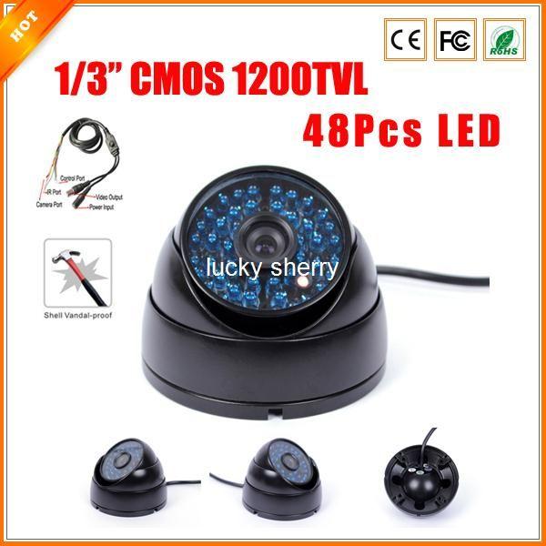 "1/3"" Metal House Vandalproof SONY CMOS IMX138 1200 TVL 48Pcs IR LED Color Indoor Dome Camera Security CCTV with OSD Menu"