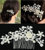 Wholesale Crystal Flowers Combs Crowns - Fashion Bridal Wedding Tiaras Stunning Fine Comb Bridal Jewelry Accessories Crystal Pearl Hair Brush Free Shipping[JH02052*1]