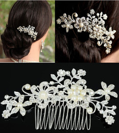 Wholesale Hair Tiara Wedding Crystal Pearl - Fashion Bridal Wedding Tiaras Stunning Fine Comb Bridal Jewelry Accessories Crystal Pearl Hair Brush Free Shipping[JH02052*1]
