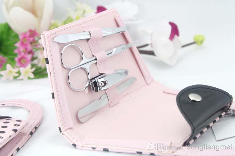 Pink Polka Dot Purse Manicure Set favor wedding bridal shower favors and gifts #Z82