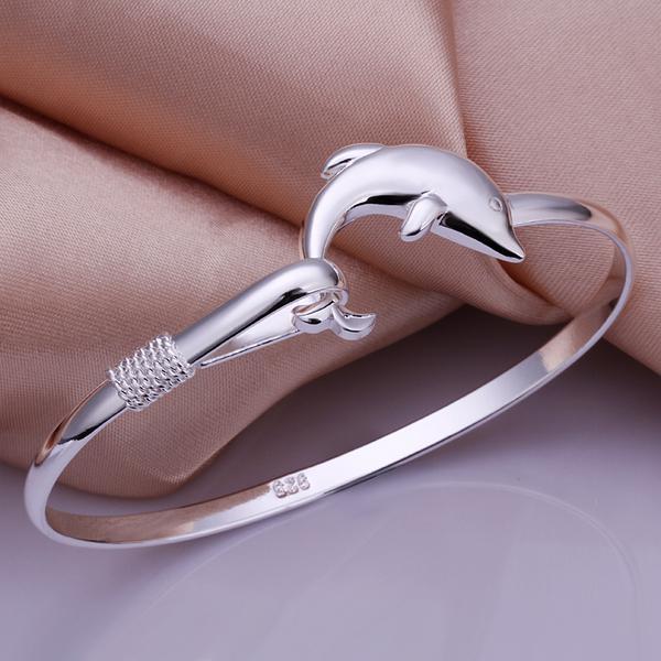 Lowest price 925 Silver Bangles Jewelry Fashion Dolphin Style 925 Silver Bracelet Bangle Jewelry Fit 8inch Wrist Jewelry 10pcs/lot