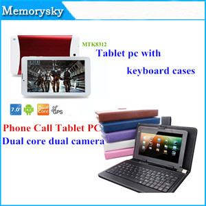 Wholesale 7 inch MTK8312 Phone Call Tablet PC Dual Core Camera GHz G WCDMA G GSM android GPS bluetooth Wifi OTG with keyboard Cases A