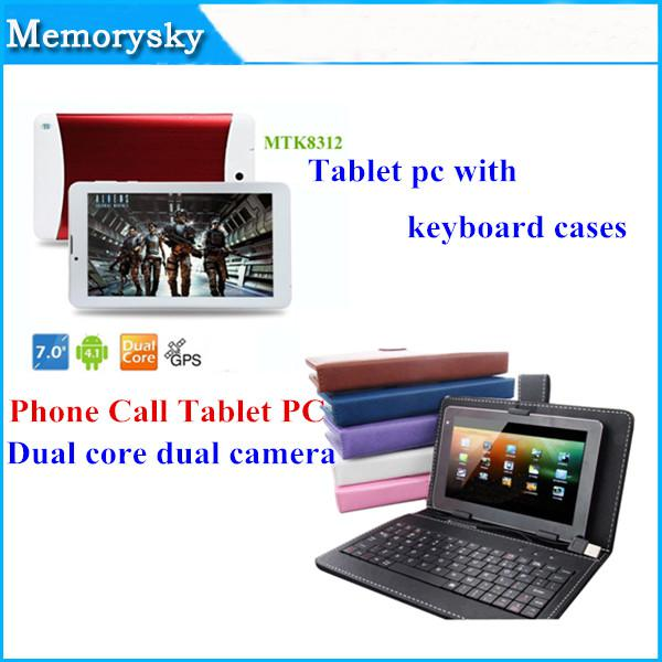 7 inch MTK8312 Phone Call Tablet PC Dual Core Camera 1.2GHz 3G WCDMA/2G GSM android 4.4 GPS bluetooth Wifi OTG with keyboard Cases 002292A