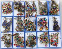 Wholesale Vintage Brass Chandeliers - Hot Sales 50Pairs lot Mixed Style Vintage Bronze Crystal Resin Fashion Earrings earrings New fashion jewelry Women Girls Earrings