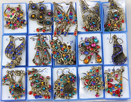 Wholesale Vintage Chandelier Crystals - Hot Sales 50Pairs lot Mixed Style Vintage Bronze Crystal Resin Fashion Earrings earrings New fashion jewelry Women Girls Earrings