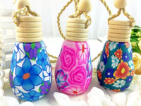 Wholesale Polymer Shapes - Lovely Egg Shape 14ml Glass Perfume Bottles with Polymer Clay Cover Bottles Jars Refillable Mini Bottles 10pcs lot ZH1437