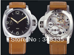 Wholesale Big Brown Sale - 2016 Hot sale Brand New Fashion WATCH Luxury Wristwatch Big 47mm Mens Black Dial Asian 6497 Manual Wind Watch 127 Brown Leather Strap Clock