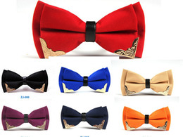 Wholesale mens white bow tie - New Bow Tie Mens Polyester Adjustable bowtie Solid Mental Decorated Neckwear commercial 2pcs lot