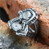 Wholesale Unique Engine - Personal Design Unique Motorcycles Engine Logo Ring 316L Stainless Steel Popular Hot Motorbiker Cool Man Ring