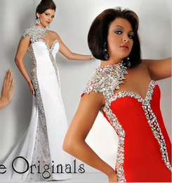 Wholesale Rhinestone Colorful Evening Dresses - Mermaid Prom Dresses 2016 Ritzee Originals One Crystal Cap Sleeve Sweetheart Full Colorful Rhinestone Satin White Red Evening Gowns Cheap